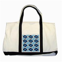 Radiating Star Repeat Blue Two Tone Tote Bag