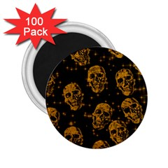 Sparkling Glitter Skulls Golden 2 25  Magnets (100 Pack)  by ImpressiveMoments