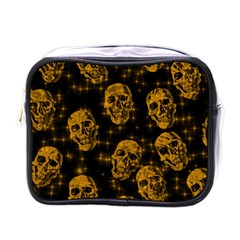 Sparkling Glitter Skulls Golden Mini Toiletries Bags by ImpressiveMoments