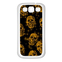 Sparkling Glitter Skulls Golden Samsung Galaxy S3 Back Case (white) by ImpressiveMoments