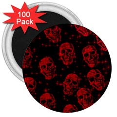 Sparkling Glitter Skulls Red 3  Magnets (100 Pack) by ImpressiveMoments