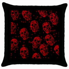 Sparkling Glitter Skulls Red Throw Pillow Case (black) by ImpressiveMoments