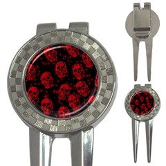 Sparkling Glitter Skulls Red 3 In 1 Golf Divots by ImpressiveMoments