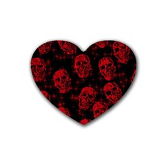Sparkling Glitter Skulls Red Rubber Coaster (heart)  by ImpressiveMoments