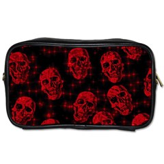 Sparkling Glitter Skulls Red Toiletries Bags by ImpressiveMoments