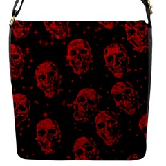 Sparkling Glitter Skulls Red Flap Messenger Bag (s)