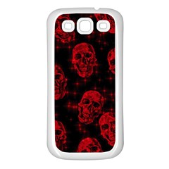 Sparkling Glitter Skulls Red Samsung Galaxy S3 Back Case (white) by ImpressiveMoments