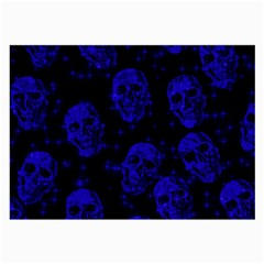 Sparkling Glitter Skulls Blue Large Glasses Cloth (2-side) by ImpressiveMoments
