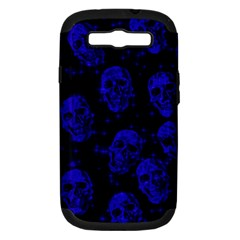 Sparkling Glitter Skulls Blue Samsung Galaxy S Iii Hardshell Case (pc+silicone) by ImpressiveMoments