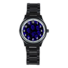 Sparkling Glitter Skulls Blue Stainless Steel Round Watch by ImpressiveMoments