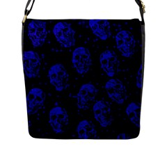 Sparkling Glitter Skulls Blue Flap Messenger Bag (l)  by ImpressiveMoments