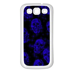 Sparkling Glitter Skulls Blue Samsung Galaxy S3 Back Case (white) by ImpressiveMoments