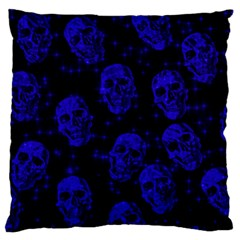 Sparkling Glitter Skulls Blue Standard Flano Cushion Case (one Side) by ImpressiveMoments