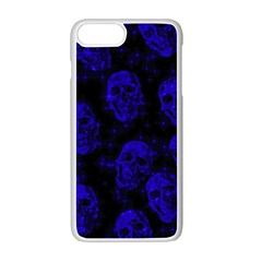 Sparkling Glitter Skulls Blue Apple Iphone 7 Plus White Seamless Case by ImpressiveMoments