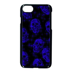 Sparkling Glitter Skulls Blue Apple Iphone 7 Seamless Case (black) by ImpressiveMoments