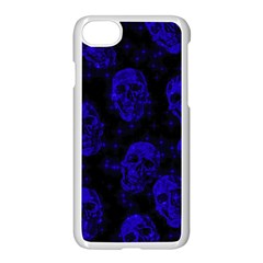 Sparkling Glitter Skulls Blue Apple Iphone 7 Seamless Case (white) by ImpressiveMoments