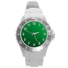 Green Beach Fractal Backdrop Background Round Plastic Sport Watch (l) by Simbadda