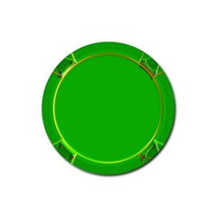 Green Circle Fractal Frame Rubber Round Coaster (4 Pack)