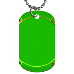Green Circle Fractal Frame Dog Tag (two Sides) by Simbadda