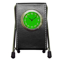 Green Circle Fractal Frame Pen Holder Desk Clocks by Simbadda