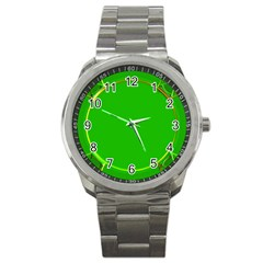 Green Circle Fractal Frame Sport Metal Watch by Simbadda
