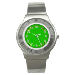 Green Circle Fractal Frame Stainless Steel Watch by Simbadda