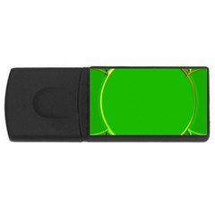 Green Circle Fractal Frame Usb Flash Drive Rectangular (4 Gb) by Simbadda
