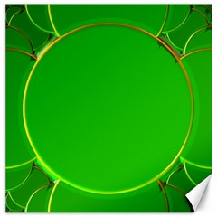 Green Circle Fractal Frame Canvas 20  X 20   by Simbadda