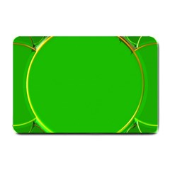 Green Circle Fractal Frame Small Doormat  by Simbadda
