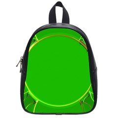 Green Circle Fractal Frame School Bags (small)  by Simbadda
