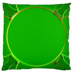 Green Circle Fractal Frame Large Cushion Case (two Sides) by Simbadda