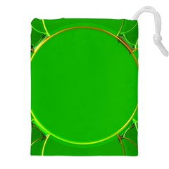 Green Circle Fractal Frame Drawstring Pouches (xxl) by Simbadda