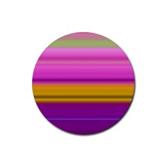 Stripes Colorful Background Colorful Pink Red Purple Green Yellow Striped Wallpaper Rubber Round Coaster (4 Pack)  by Simbadda