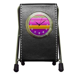 Stripes Colorful Background Colorful Pink Red Purple Green Yellow Striped Wallpaper Pen Holder Desk Clocks by Simbadda