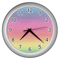 Watercolor Paper Rainbow Colors Wall Clocks (silver)