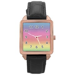 Watercolor Paper Rainbow Colors Rose Gold Leather Watch  by Simbadda