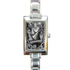 Grey Fractal Background With Chains Rectangle Italian Charm Watch