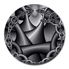 Grey Fractal Background With Chains Round Mousepads