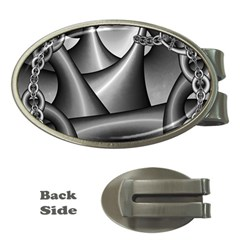 Grey Fractal Background With Chains Money Clips (oval)  by Simbadda