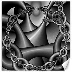 Grey Fractal Background With Chains Canvas 20  X 20   by Simbadda