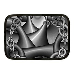 Grey Fractal Background With Chains Netbook Case (medium)  by Simbadda