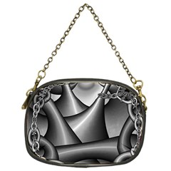 Grey Fractal Background With Chains Chain Purses (one Side)  by Simbadda