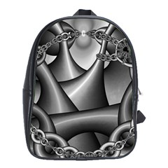 Grey Fractal Background With Chains School Bags (xl)  by Simbadda