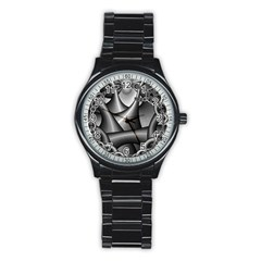Grey Fractal Background With Chains Stainless Steel Round Watch