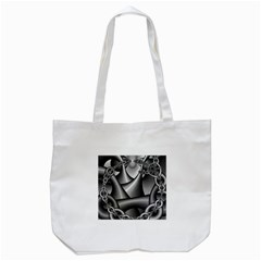Grey Fractal Background With Chains Tote Bag (white) by Simbadda