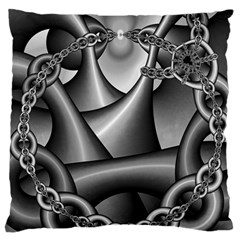 Grey Fractal Background With Chains Large Flano Cushion Case (one Side)