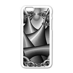 Grey Fractal Background With Chains Apple Iphone 6/6s White Enamel Case