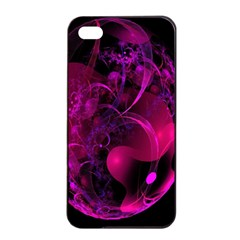 Fractal Using A Script And Coloured In Pink And A Touch Of Blue Apple Iphone 4/4s Seamless Case (black) by Simbadda