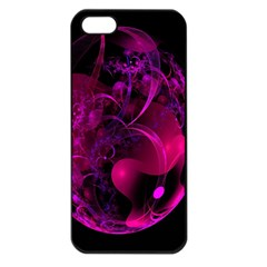 Fractal Using A Script And Coloured In Pink And A Touch Of Blue Apple Iphone 5 Seamless Case (black)