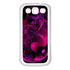 Fractal Using A Script And Coloured In Pink And A Touch Of Blue Samsung Galaxy S3 Back Case (white) by Simbadda